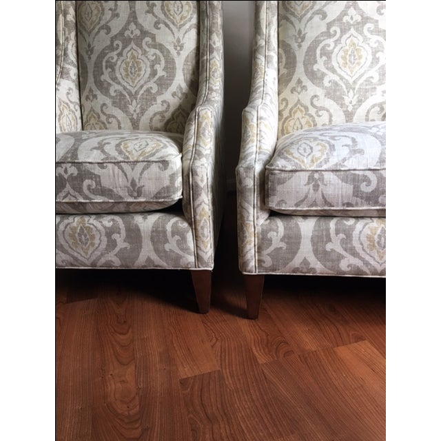 Arhaus Upholstered Plazza Wing Chairs - A Pair - Image 4 of 6