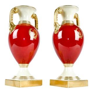 Vintage Lenox Porcelain Deco Vases - a Pair For Sale