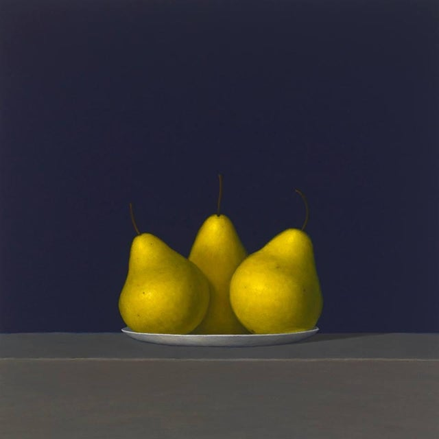 """Realism David Harrison """"Three Pears on a Plate"""" Oil Painting For Sale - Image 3 of 3"""