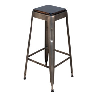 Sarreid Bar Stool W/ Wooden Top For Sale