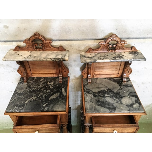 Marble Antique, Tall and High Top Solid Oak Bedside Cabinets With Marble  Top and Drawer - Antique, Tall And High Top Solid Oak Bedside Cabinets With Marble