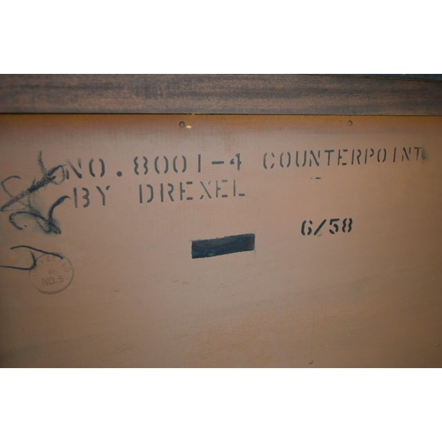 Wood Drexel Counterpoint John Van Koert Mid Century Modern Tambour Door Hutch Top Sideboard, Bookcase For Sale - Image 7 of 13