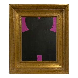 Ron Giusti Mini Kokeshi Doll Head Violet Black Acrylic Painting For Sale