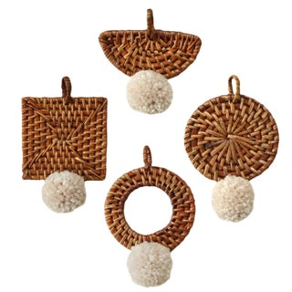 Christmas Tree Ornament Bali X Cali - MIX Set of 4 - With Blushed Ivory Pom-Pom For Sale