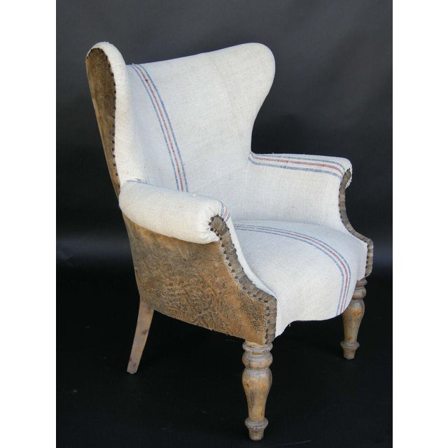 Custom Lambskin and Vintage Linen Chairs - Image 3 of 8