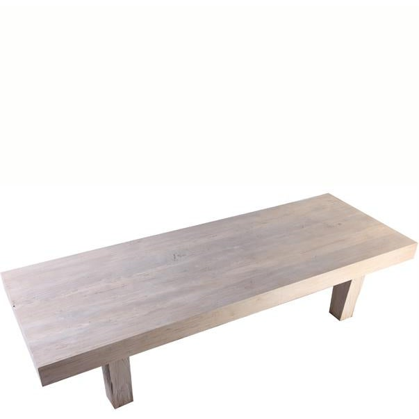 "This straight line with bleached white finish 72"" long coffee table is hand made from reclaimed teak..3.5"" thick top, a..."