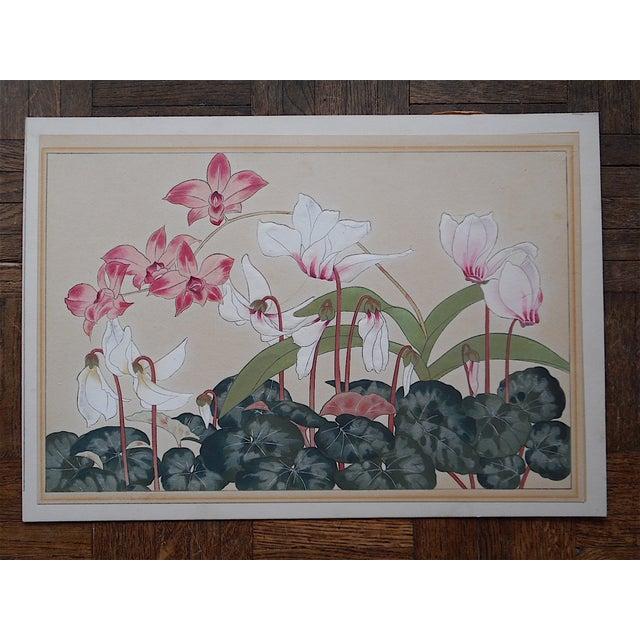 Asian Vintage Japanese Botanical Woodblock Print For Sale - Image 3 of 3