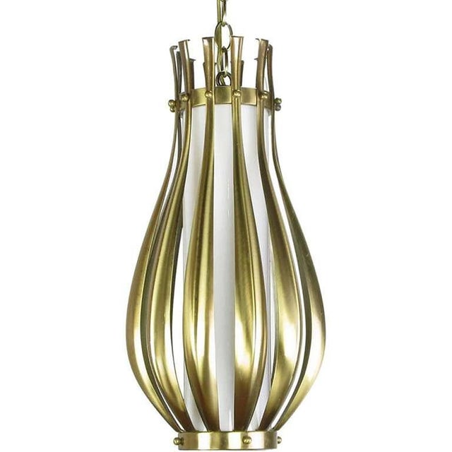 Mid-Century Modern Gourd-Form Brushed Brass and Milk Glass Pendant Light For Sale - Image 3 of 5