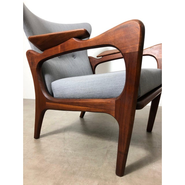 1960s 1960s Pair Adrian Pearsall for Craft Associates Wingback Lounge Chairs For Sale - Image 5 of 10
