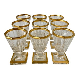 19th Century Gold Trimmed Baccarat Liqueur Glasses - Set of 9