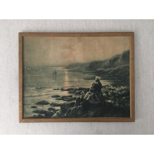 Beautiful print of a mother and child looking out to sea (circa 1960's). The item is in beautiful vintage condition and...
