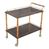 Image of Hollywood Regency Faux-Bamboo Bar Cart For Sale