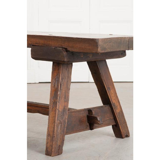 Early 19th Century English Early 19th Century Thick Oak Bench For Sale - Image 5 of 12
