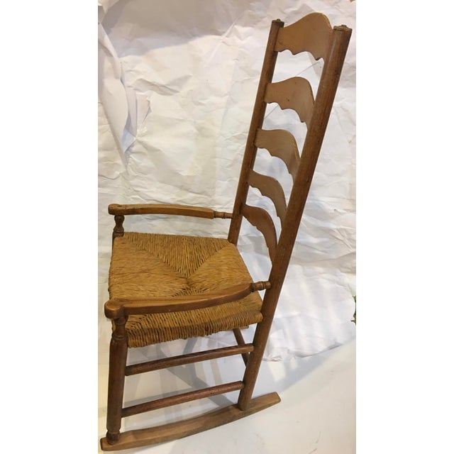1950s Vintage Rush Seat Rocking Chair For Sale - Image 5 of 9