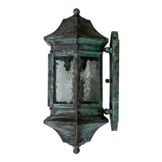 Handcrafted Solid Brass Wall Lantern For Sale