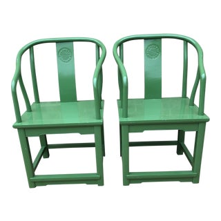 Vintage Lacquered Green Chinoiserie Arm Chairs - A Pair