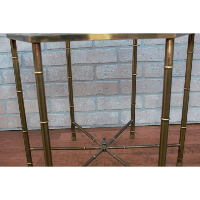 1970s Mid Century Modern Mastercraft Faux Bamboo Side Tables - A Pair For Sale - Image 9 of 10