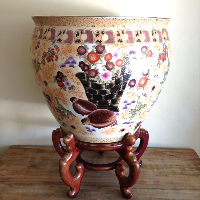 Large Antique Chinese Famille Fish Bowl & Stand - Image 2 of 6