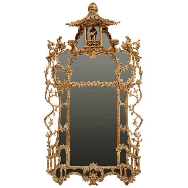 George III Chippendale Style Carved Giltwood Mirror, 19th Century For Sale