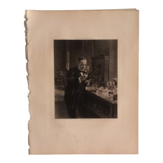 """Antique Photogravure on Paper, """"Pasteur in His Laboratory"""" by Albert Edelfelt Selmar Hess Publishers 1894 For Sale"""