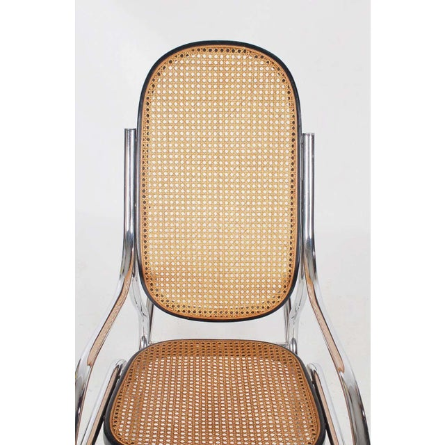 1970s Mid-Century Scrolled Chrome and Cane Rocking Chairs - a Pair For Sale In Philadelphia - Image 6 of 10