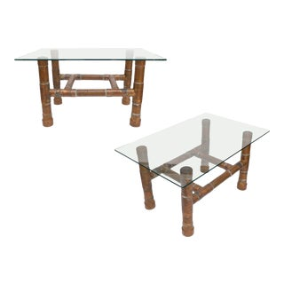 Copper Pipe and Glass-Top Side Tables - a Pair For Sale