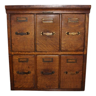 1920s Oak Library Card Filing Cabinet For Sale