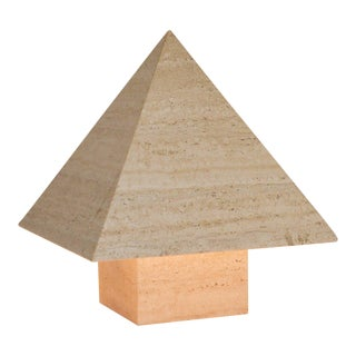 1970s Italian Travertine Pyramid Lamps - A Pair For Sale