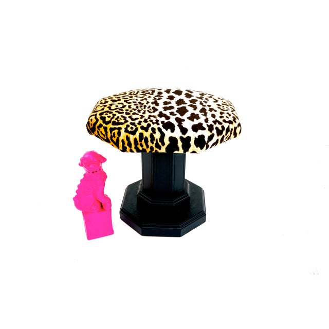 Vintage Regency Leopard Velvet Low Stool For Sale - Image 4 of 11