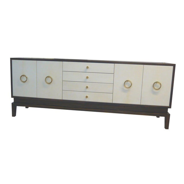 M/n originals Italian ebony and natural parchment sideboard with solid brass drop ring handles and pulls. Custom orders...