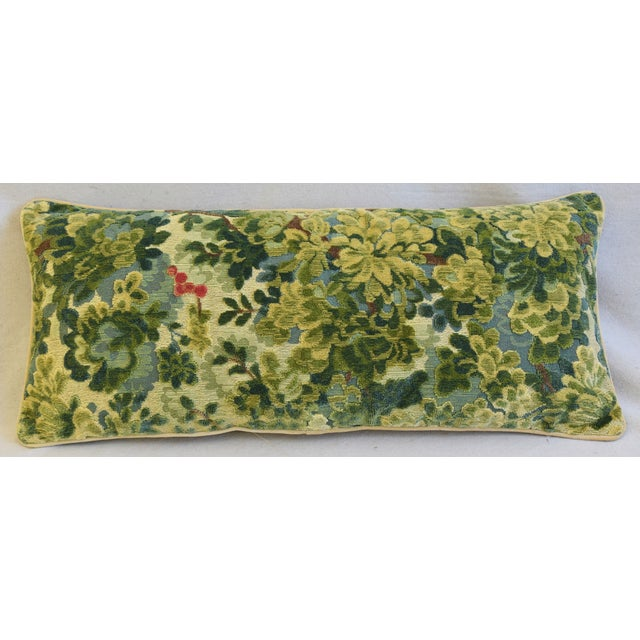 Large custom-tailored lumbar pillow in vintage/never used handloomed Italian cut and uncut velvet fabric from Scalamandré...