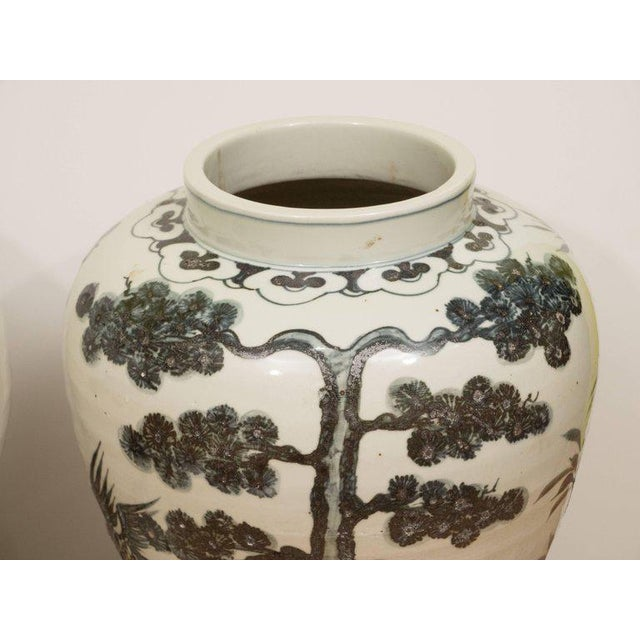 Pair of Black & White Chinese Export Jars - Image 2 of 9