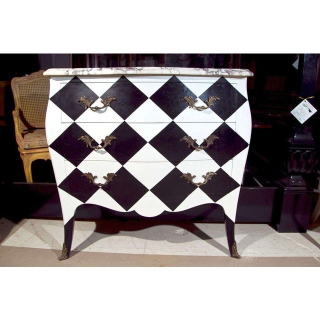 1940s French Louis XV Painted Marble Top Commode For Sale - Image 5 of 10