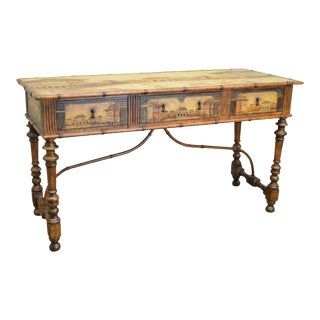 Chinese Hand Painted Large Faux Bamboo Hall Table or Sideboard For Sale