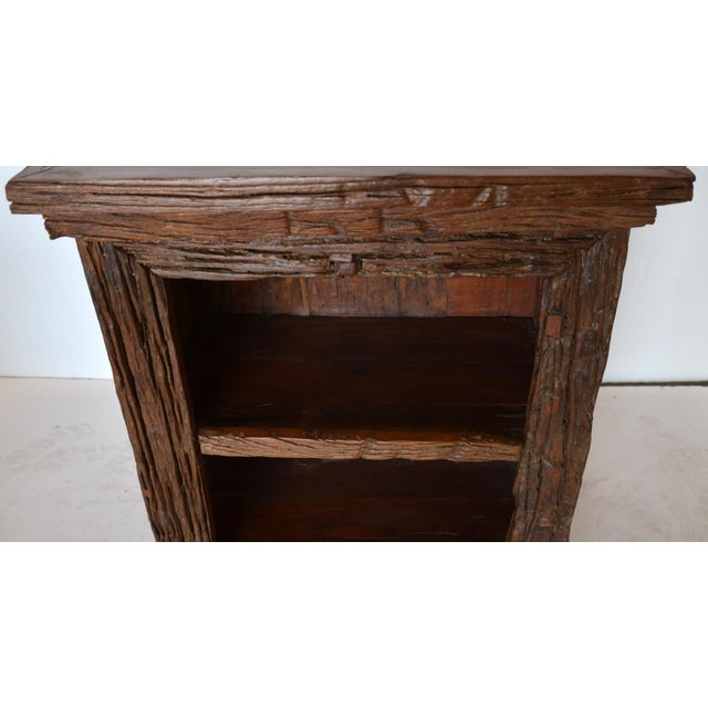 Simple rustic functional end table with open shelf and drawer for storage. This is constructed from very good quality hard...