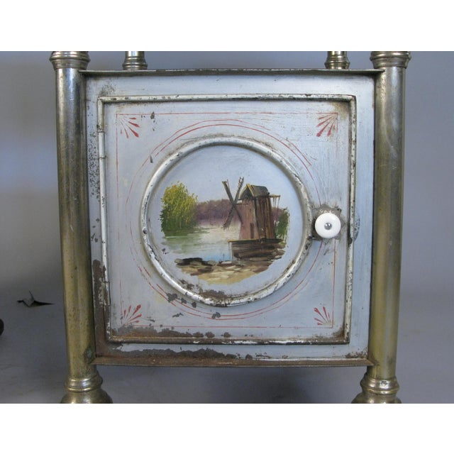 Metal 19th Century Painted Steel Nightstands - a Pair For Sale - Image 7 of 9