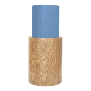 Contemporary 100C Side Table in Oak and Blue by Orphan Work, 2020 For Sale