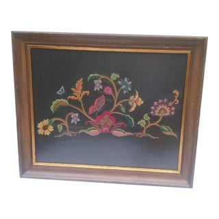 Large Vintage Needlepoint Textile Art in Gilded Frame For Sale