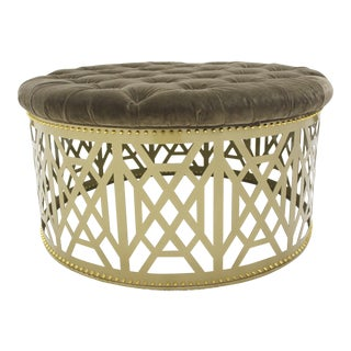 Taylor Broke Home Gold Fretwork Tufted Ottoman