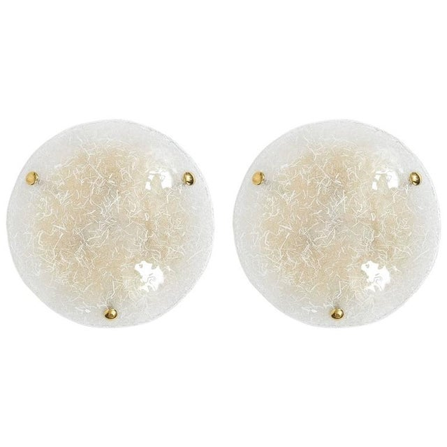 Metal Pair of Glass Flush Mounts by Hillebrand, circa 1970 For Sale - Image 7 of 7
