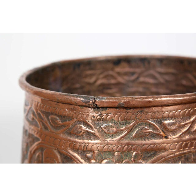 Figurative Copper Hand Etched Egyptian Pot Jardiniere For Sale - Image 3 of 6