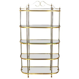 Italian Regency Brass and Brushed Steel, Five-Shelf Etagere For Sale