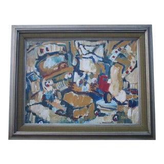 Emmy Johnson 1950's Mid Century Modern Painting Old Car Abstract Expressionism For Sale