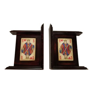 King of Hearts Playing Card Bookends - a Pair For Sale