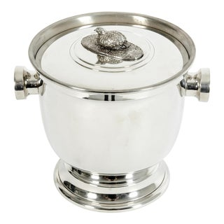 English Sheffield Barware Silver Plated Covered Ice Bucket For Sale