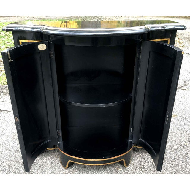 Baker Chinoiserie Black Lacquer Demi-Lune Commode For Sale - Image 12 of 13