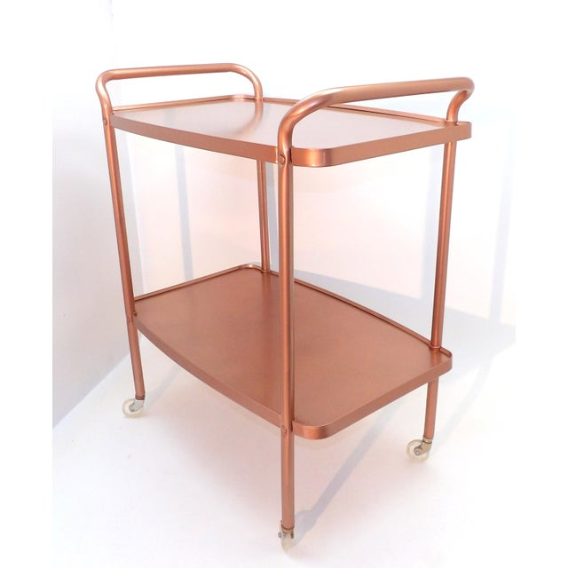 Mid-Century Modern Rose Gold Rolling Bar Cart For Sale - Image 10 of 10
