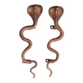 Large Dark Brass Cobra Door Handles - A Pair For Sale
