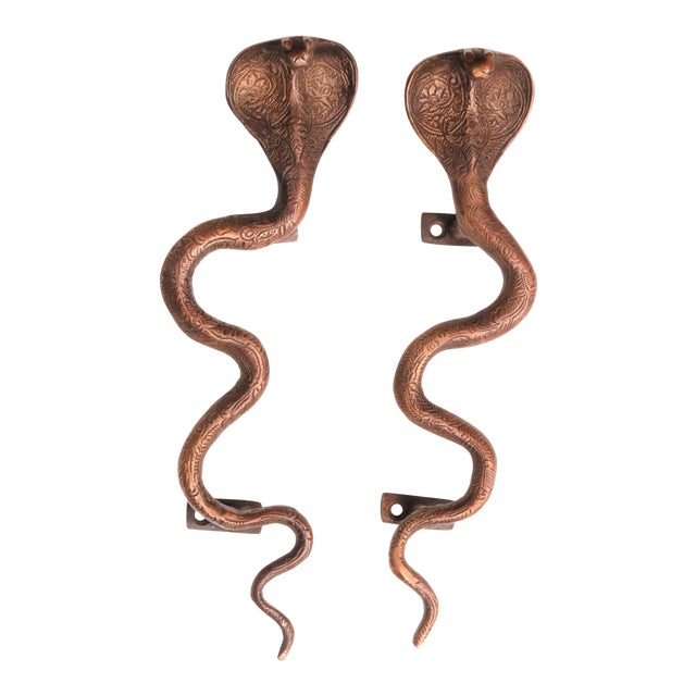 Large Dark Brass Cobra Door Handles - A Pair For Sale