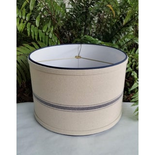 Grain Sack and Navy Blue Beige Fabric Large Drum Lampshade Preview